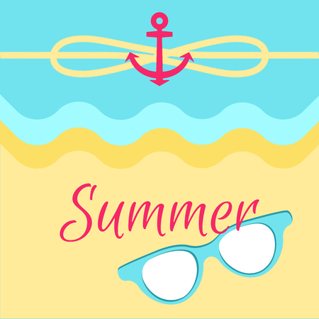 summer bright poster, colorful vector illustration, abstract water and sandy beach, cute summer sunglasses, red anchor, yellow rope, cordage loop