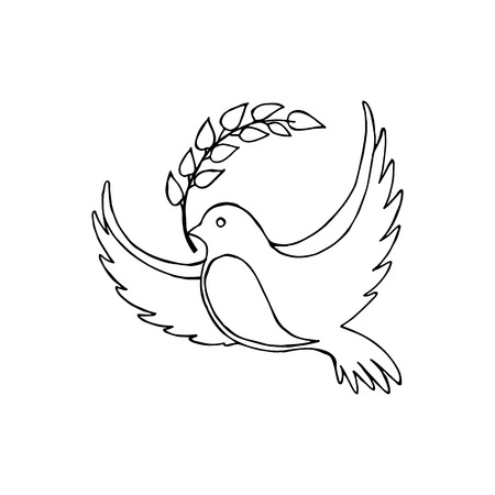 Dove of Peace With a Twig Vector Illustration