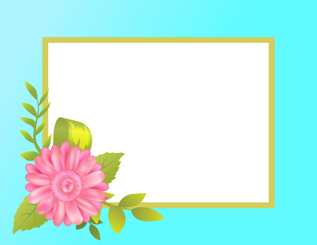 Empty frame decorated by pink daisy flower with green spring leaves vector illustration greeting border springtime blossom isolated on blue backdrop