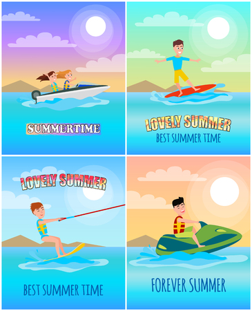Summertime banners collection with letterings and summertime sports, surfing and boating, jet ski and kitesurfing, isolated on vector illustration