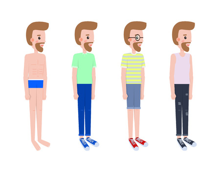 Man stands in profile in summer outfits set. Character in swimming trunks, T-shirt with jeans and shorts and simple white shirt vector illustrations.