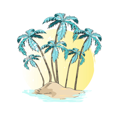 Desert Island Palm Trees