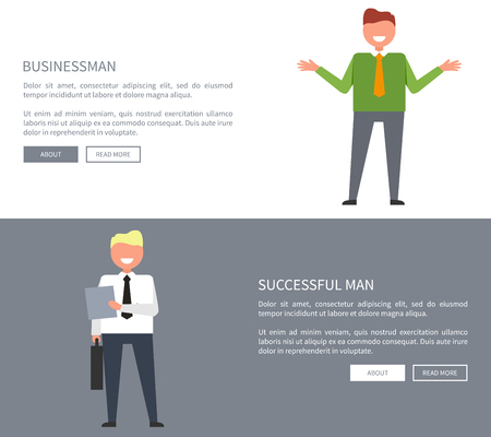 Businessman and successful man with folder and case in hands. Vector illustration of two office workers on white and gray separate backgrounds