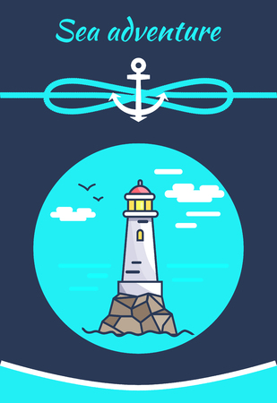 Sea Adventure Color Banner with White Lighthouse