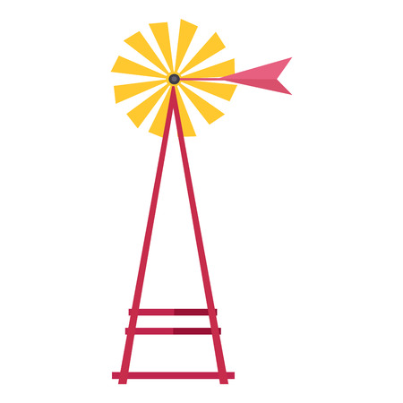 Wind Water Pump Isolated Flat Vector Illustration