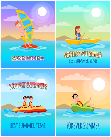 Summertime Lovely Collection Vector Illustration