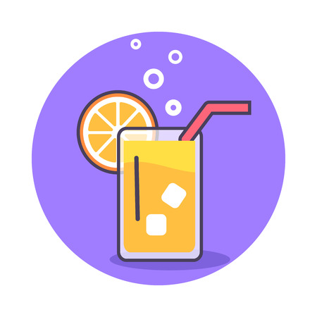 Circle Icon Depicting Glass of Refreshing Juice