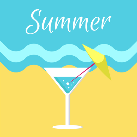 Summer Poster with Martini Glass on Beach Vector