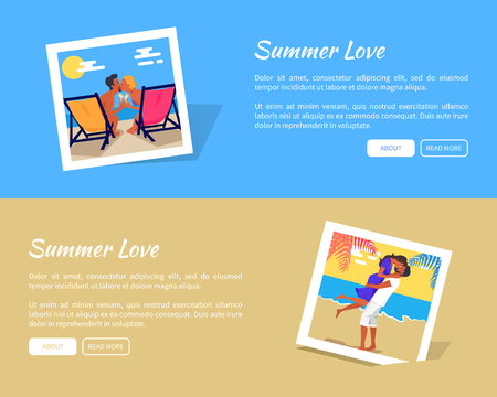 Summer Love Photos Vector Banner with Info Texts
