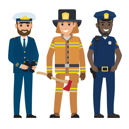 Concept of Captain, Firefighter and Police Officer