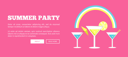 Summer Party Poster with Martini Glasses Vector Reklamní fotografie
