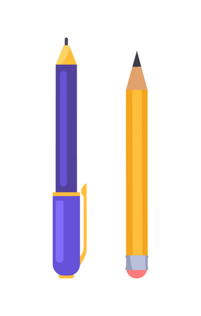 Pen and Pencil Vector Illustration Icons Isolated Stockfoto