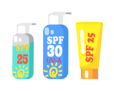 SPF Creams Collection of Three Isolated on White Stok Fotoğraf