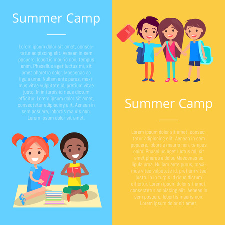 Summer Camp Template Poster with Happy Children