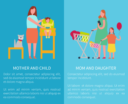 Mom and Daughter, Mother with Child Vector Posters Stock fotó
