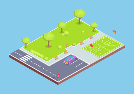 Park, Parking Lot and Sports Field Illustration Stock Photo