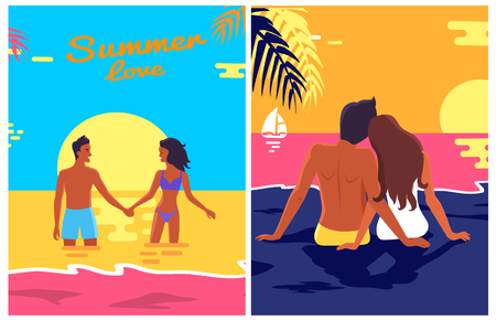 Summer Love Posters Set with Couple Love on Beach Stock Photo