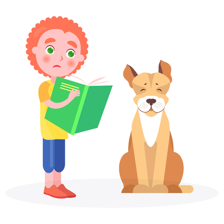 Distressed curly boy keeps green open book, beside sits jack russell terrier vector illustration on white background closeup.