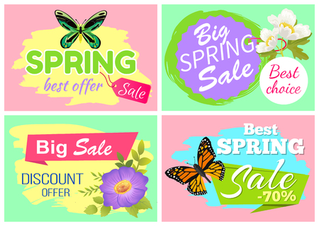 Spring best offer banners set of posters with flowers and butterflies, spring offer and best choice set of banners isolated on vector illustration