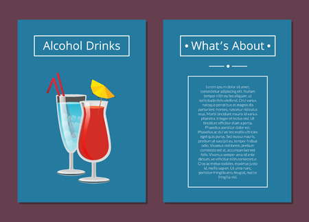 About alcoholic drinks poster with beverages in festive wineglasses decorated by lemon and straws. Background of vector illustration is dark blue Фото со стока