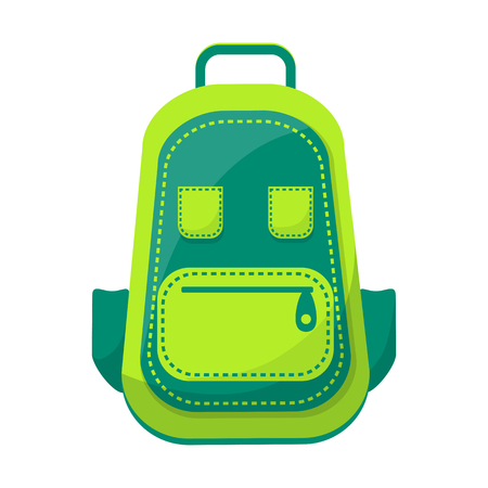 Dark and light green backpack with front part presented as smiley with eyes, mouth and tongue isolated vector illustration on white background