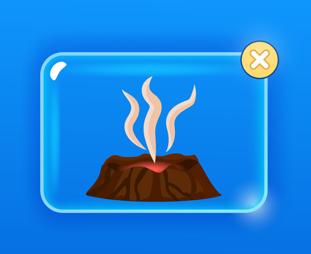 Dormant brown volcano, white vapor cartoon drawing isolated on blue. Visible red lava in volcanic stone on glass screen with yellow round closing button. Vector illustration graphic design