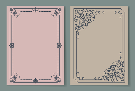 Vintage frames collection curved borders isolated on pastel backgrounds. Decorative black path set ornamental elements in corners vector illustrations Stok Fotoğraf