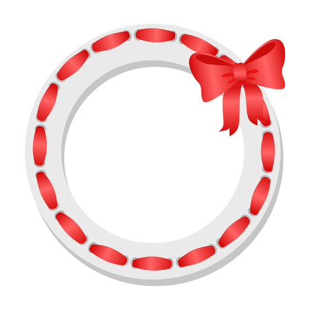 Wreath with red ribbon and bow icon. Easter wreath flat vector isolated on white background Imagens - 104849845