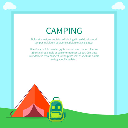Camping accessories rucksack and a-frame tent made of red fabric with half opened doors isolated vector illustrations on white. Shelter used for sleeping and bag