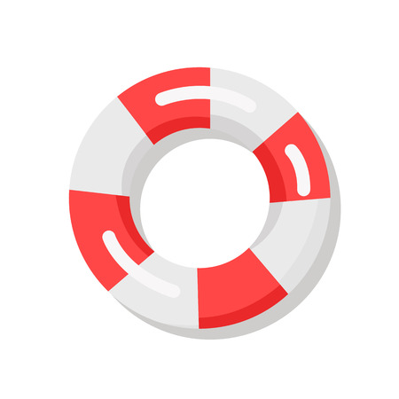 Banner depicting red-and-white lifebuoy. Vector illustration of life preserver used to prevent drowning of people swimming in water Standard-Bild - 104849401