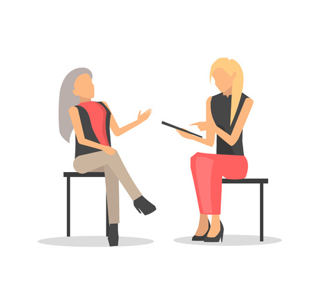 Closeup of two women discussing something, one is taking interview and attentively listens to another person, vector illustration isolated on white Stock Photo