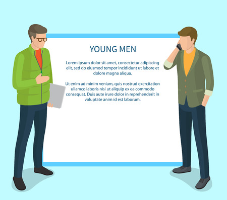 Young men isolated on light blue background vector illustration with white square and text overlaid on it. Trendy cartoon style teenage boys