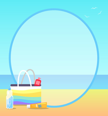 Poster depicting peaceful beach. Vector illustration showing half empty bottle of water, colorful bag and sunscreen lotions on sand Illustration