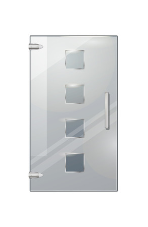 Clear glass door isolated with four glassy squares, handle and two hinges on white background. Vector illustration of entrance element with decor for commercial buildings