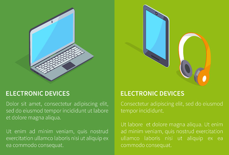 Electronic devices laptop and wireless headphones with tablet vector 3D illustrations with text. Earphones and smartphone modern stereo equipment