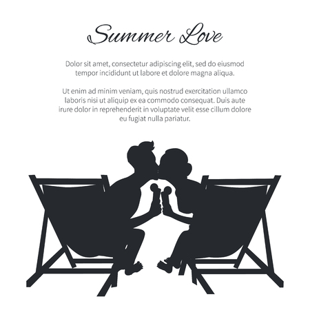 Couple Silhouette Kissing on Sunbeds on White