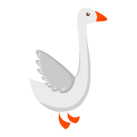 Cute Goose Cartoon Flat Vector Sticker or Icon
