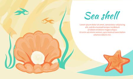 Sea Shell Creative Poster with Valued Gemstone Standard-Bild - 104907506