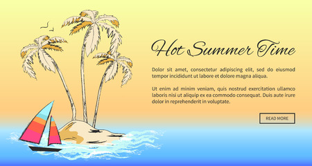Hot Summer Time Banner with Tropical Sandy Island
