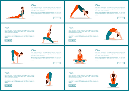 Collection of web pages, yoga poses and woman wearing training suit, text sample and headlines, vector illustration isolated on white background