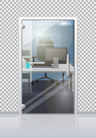Office workplace through sliding glass door view flat vector. Entrance to the cabinet with table, laptop and chair. Modern office interior with transparent wall illustration for business concepts