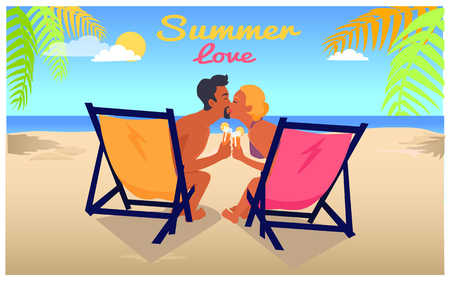 Summer love background with man and woman kissing each other in recliners on sandy beach with blue ocean and exotic palms vector illustration. Banque d'images - 105603657