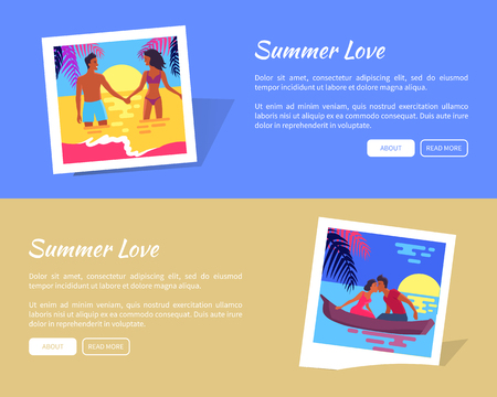 Summer photos of lovely couple relaxing in ocean or in boat by holding hands and kissing. Poster with photo cards and information text.