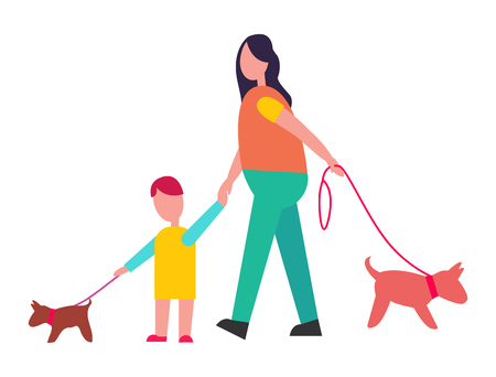 Mother and son walking little dogs on lead isolated vector illustration on white background. Dark-haired parent and young kid strolling with pets Illustration
