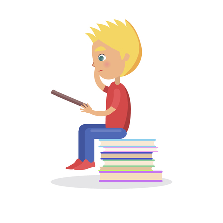 Profile of blond boy sitting on heap of books, self education and getting knowledge concept. Pupil study interesting enciclopedia vector illustration