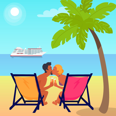 Couple on recliners at beach with cocktails kisses near exotic palm and big white cruise liner in sea under hot sun vector illustration. Banque d'images - 105603662