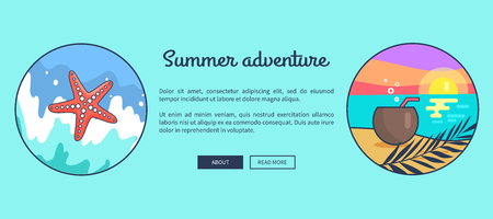 Advertising summer adventure banner with inscription. Vector illustration of set of circle icons depicting pink sea star and peaceful seaside