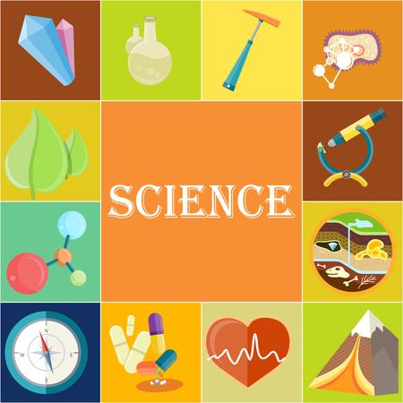 Poster di scienza con illustrazioni in celle quadrate