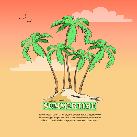 Summertime poster with inscription. Vector illustration of desert island with palm trees and birds above against light pink and orange background Stock Photo