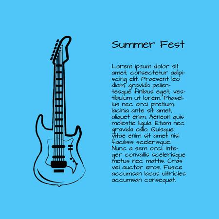 Summer Fest Rock and Roll Vector Illustration Illustration